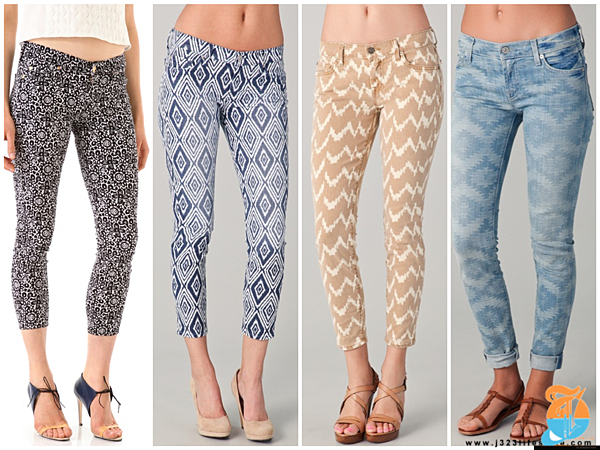 7 cropped printed jeans