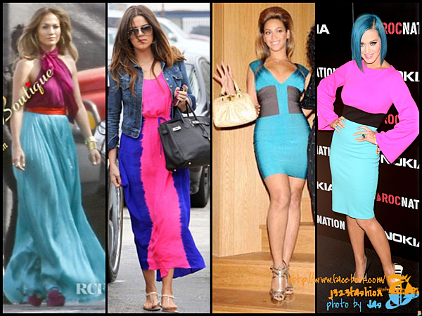 celeb color-blocking dresses