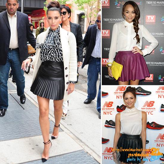 Celebs-Pleated-Leather-Skirts
