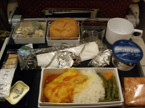 飛機餐2,魚飯  有點辣  沒吃完  菜單是英文的 根本不知道是辣的  還是雞飯好吃