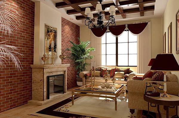 Red-brick-walls-wood-ceiling-living-room