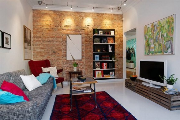 contemporary-living-room-Apartemen-Skandinavia-with-partly-of-the-brick-wall-588x392