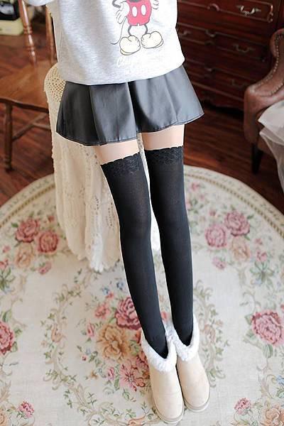 超可愛日系風【內刷毛假膝上暖腿透膚襪】