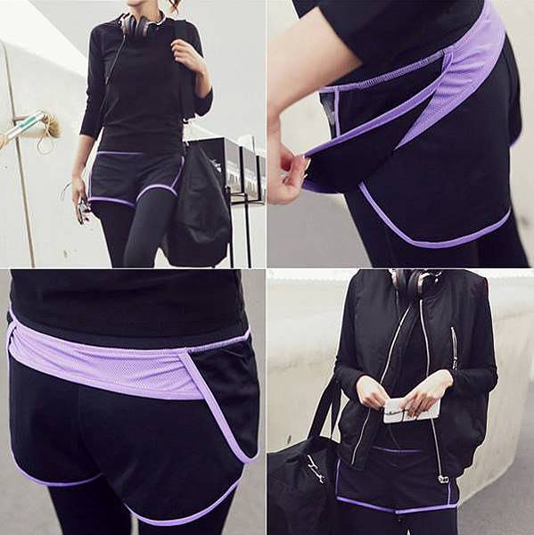 看到好多女孩都穿這件【假二件速乾超彈力九分褲】