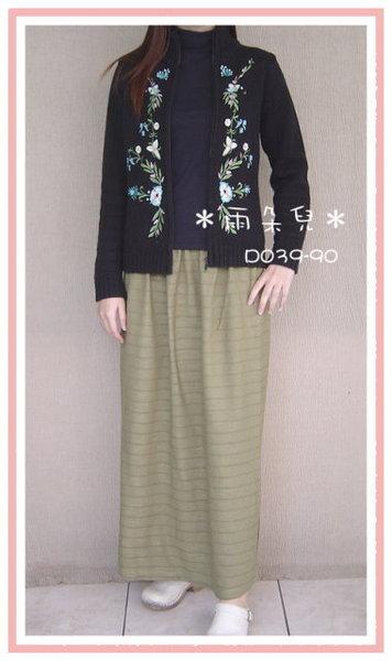 D039-90簡約風手染窄裙(綠色)