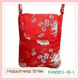錦緞中國風系列-斜背袋FA001-2-1(紅)