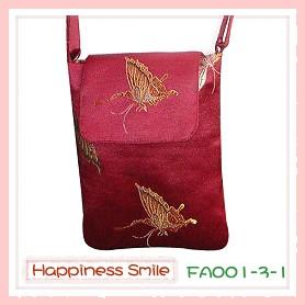 錦緞中國風系列-斜背袋FA001-3-1(棗紅-蝴蝶)