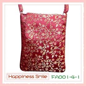 錦緞中國風系列-斜背袋FA001-4-1(棗紅)