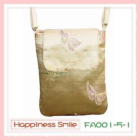 錦緞中國風系列-斜背袋FA001-5-1(銀黃)