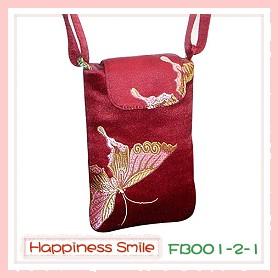 錦緞中國風系列-手機袋FB001-2-1(棗紅-蝴蝶)