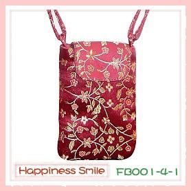 錦緞中國風系列-手機袋FB001-4-1(棗紅)