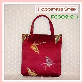 錦緞中國風系列-手提袋FC002-2-1(棗紅-蝴蝶)