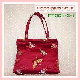 錦緞中國風系列-肩背袋FF001-2-1(棗紅-蝴蝶)