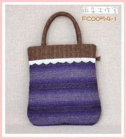 FC005-4-1浪漫華麗風系列(紫+芥黃)手提袋