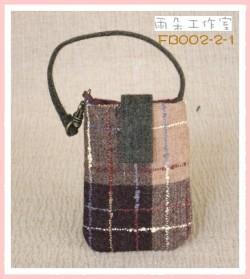 FB002-2-1英國學院風系列(土黃+綠)手機袋