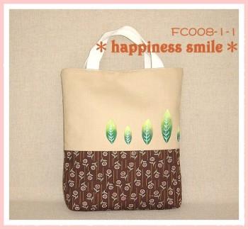 彩繪葉子系列手提袋(咖啡色)-FC008-1-1-a