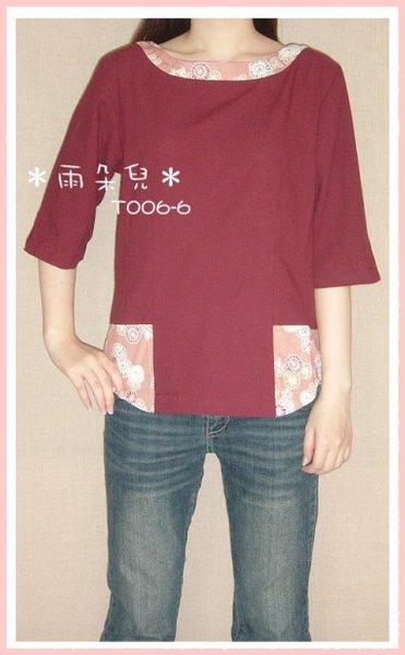 T006-6日本風一字領上衣(粉紅花布)