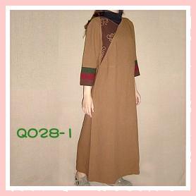 手工繡花咖啡色手染服-Q028-1(洋裝)