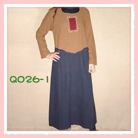 拼布手工繡花藍色手染服-Q026-1(洋裝)