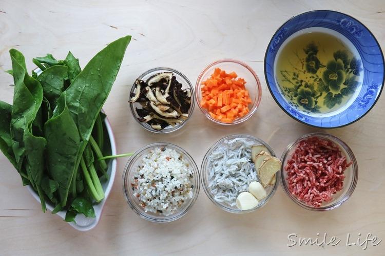▌副食品▌高鐵高纖好營養。1Y以上寶寶「菠菜吻仔魚牛肉粥」食譜