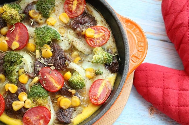 ▌食譜 ▌十分鐘烤箱料理「牛肉鮮蔬玉米烘蛋」