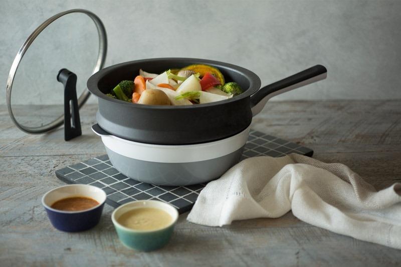 ▌優雅廚娘▌日本Remy多功能頂級不沾鍋。煎、煮、炒、炸,還能變身為蒸鍋。各式料理一鍋搞定
