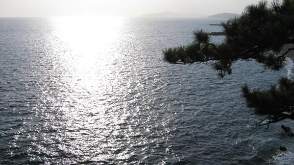 海面上的夕陽軌跡