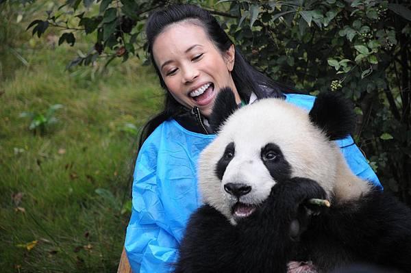 莫文蔚擁抱大熊貓