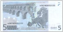 歐元5元背面