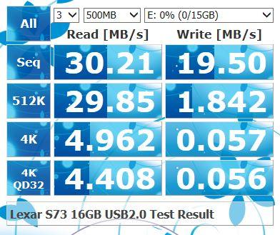 lexar s73 16g 速度(USB2.0)