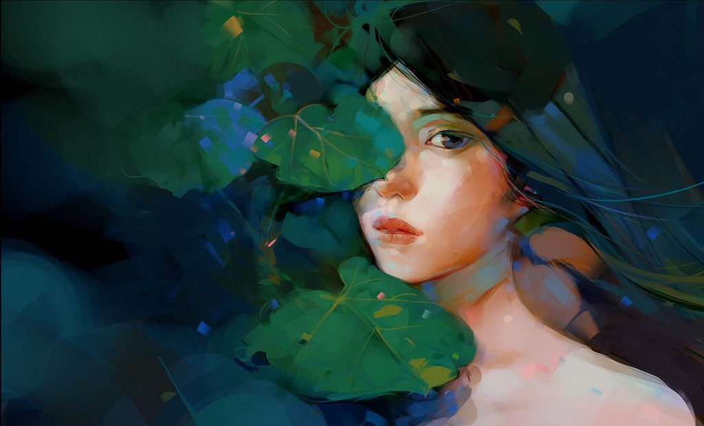 painted-girl-queen-of-forest-oil-green-leaf-nature.jpg