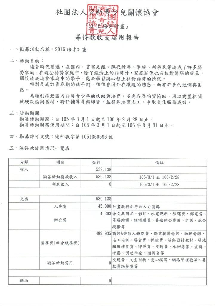 2016培才計畫募得款收支運用報告書