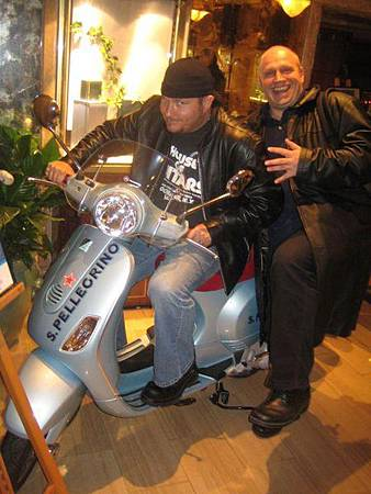 Olly from SPV and myself stealing a bike in the Hotel in Belgium.jpg