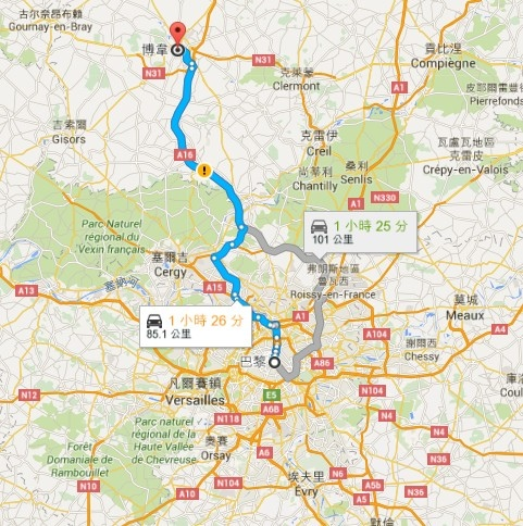 Paris to Beauvais google map