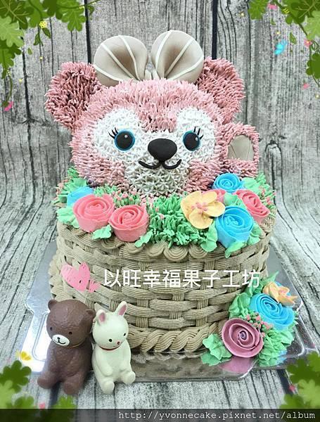 熊花籃鮮奶油立體蛋糕