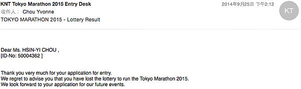 東京馬拉松抽籤結果