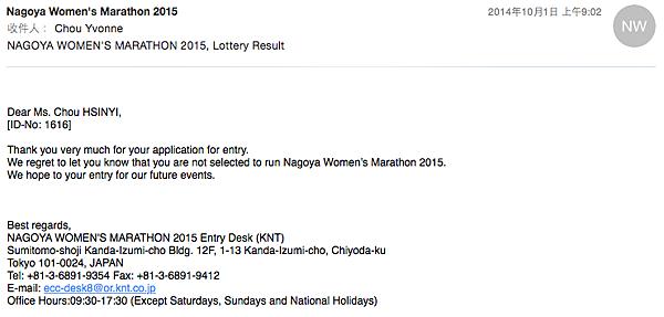 名古屋女子馬拉松抽籤結果