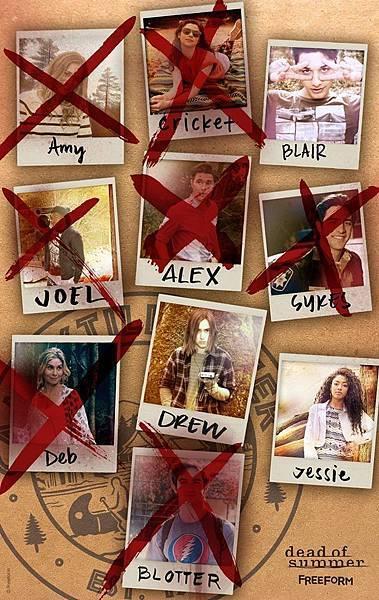 艾美(伊莉莎白萊爾 Elizabeth Lail 飾)、喬爾(伊萊格瑞 Eli Goree 飾)、黛比(伊麗莎白米切爾 Elizabeth Mitchell 飾)、克莉絲(安珀爾康尼 Amber Coney 飾)、艾力克斯(羅南魯賓斯坦 Ronen Rubinstein 飾)、德魯(莎爾妲威廉斯 Zelda Williams 飾)、布特(扎克瑞戈登 Zachary Gordon 飾)、布萊爾(馬克印第里凱托 Mark Indelicato 飾)、蓋瑞特(安貝托佛雷札 Alberto Frezza 飾)、潔西(寶琳娜辛格 Paulina Singer 飾)