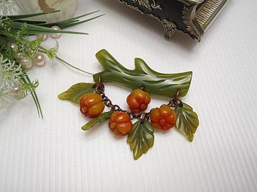 水果世界 Bakelite膠木 綠色樹枝葉子南瓜別針  11