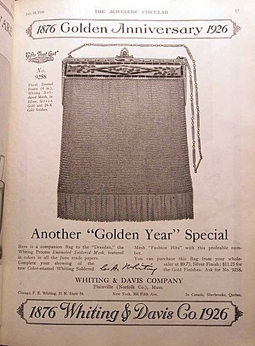 Whiting & Davis Golden Anniversary Advertisement in Jeweler's Circular July 14, 1926