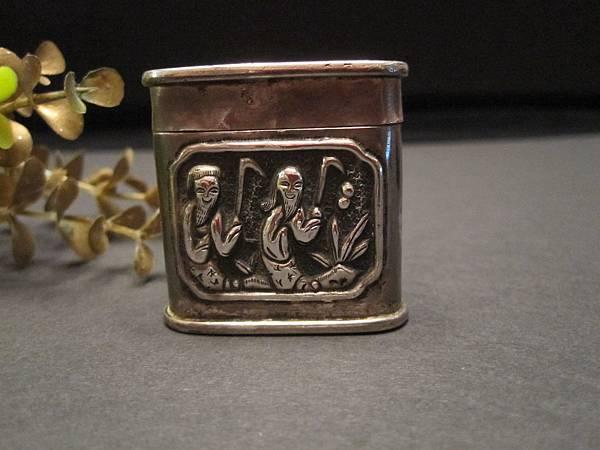 老銀丹仙神盒~和合二仙圖騰~有款(之三)