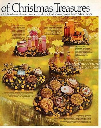 Max Factor 1970 皇室貴氣 英式庭園 雕刻古董粉盒(原裝盒)廣告