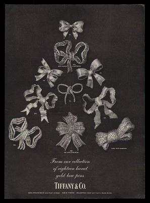 1963 Tiffany's gold Christmas bow pins in tree layout photo vintage print ad.jpg