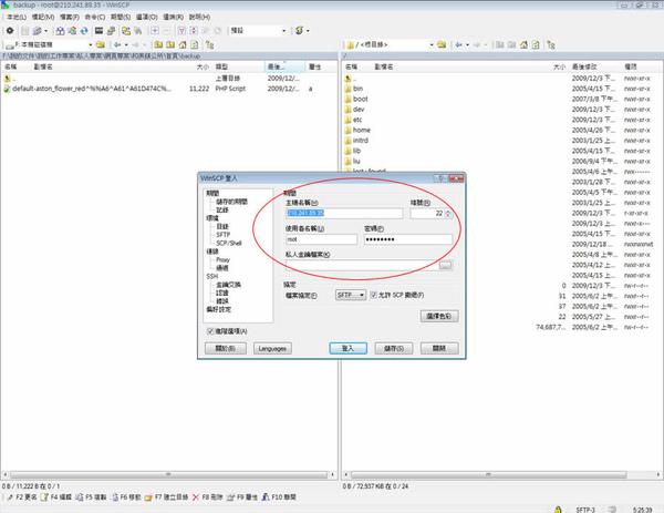 WinSCP 的 SSH 連線