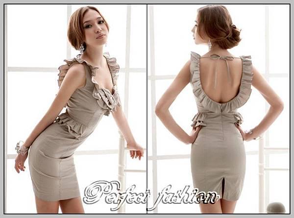 3883灰色韓版絕佳版型荷葉邊連衣裙_2