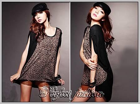 WANoX6385YC3180時尚豹紋拼接短袖長衫_1