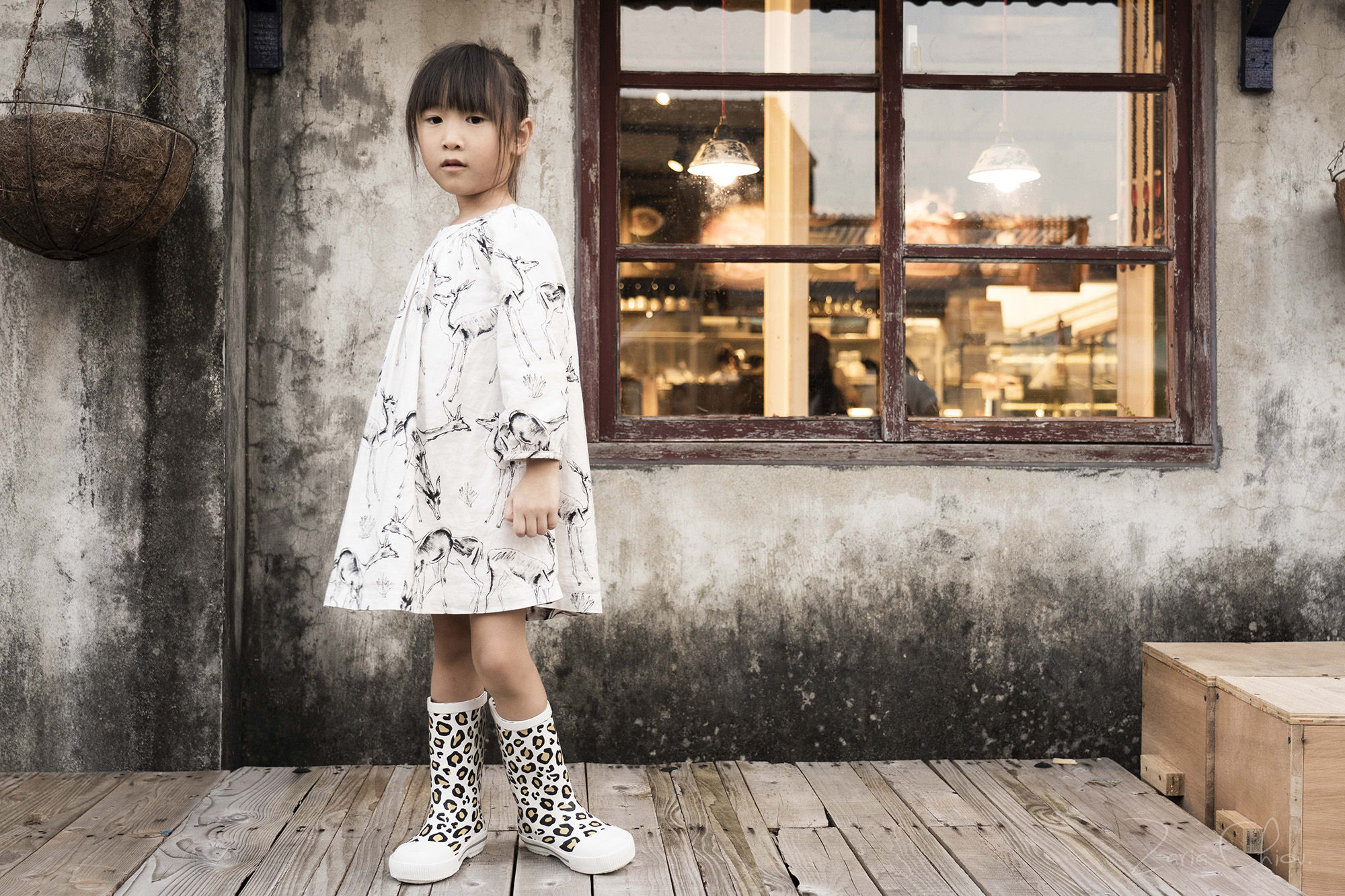 Boxbo 雨靴 豹紋白