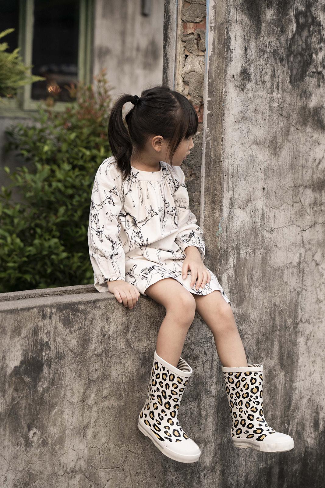 Boxbo 冬天雨靴 豹紋白