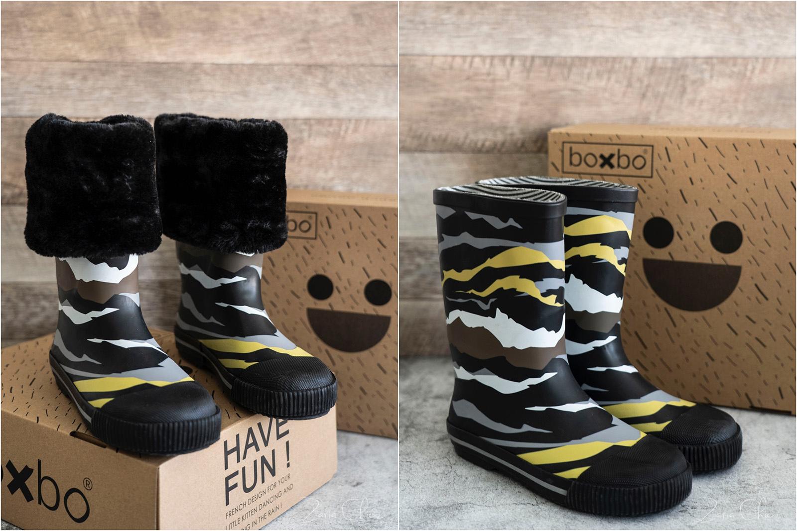 Boxbo 冬天雨靴 迷彩黑