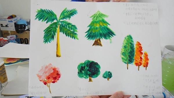 壓克力畫樹木畫法練習